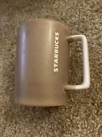 Starbucks 2016 Brown Tan Dipped Speckled White Square Handle Coffee Mug Cup 12oz