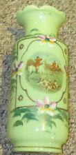 Fox Hunt Hunting Green Glass Hand Painted Flower Vase