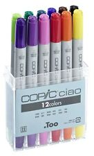 COPIC CIAO MARKER - 12 STANDARD COLOUR SET - TWIN TIPPED - 12 UNIQUE COLOURS