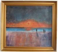 Menschen am Meer, Abendstimmung, Poul Fourby (1916 - ?), Mitte 20. Jh.