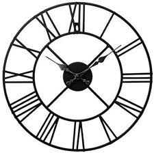 Large Metal Indoor Outdoor Garden Classic Roman Numeral Wall Clock Black Round