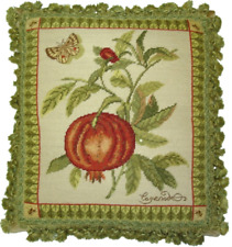 Needlepoint Pillow   Pomegranate and Butterfly Throw Vertical Wool Cushion 19x17