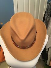 Women's Large Camel Woolrich Cowboy Hat 100% Wool
