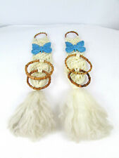New listing 2 Vintage Macrame 2-Loop Towel Hanger Holders With Ceramic Blue Butterflies