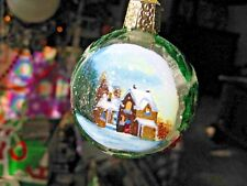 YELLOW TINY HOUSE ON WHEELS OLD WORLD CHRISTMAS GLASS HOME ORNAMENT NWT 20106