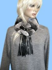 New GENUINE CHINCHILLA FUR SCARF - COLLAR with LEATHER FRINGE & BELT CLOSURE