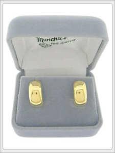NEW Ladies 14K Yellow Gold Huggie Fashion Pierced Earrings Push Back Fasteners