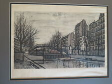 """Bernard Buffet 1956 """"St Martin Canal"""" Hand Signed and Numbered 9/50 Etching"""