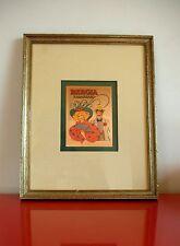RABARBARO BERGIA Serigrafia Rame Vintage ANTICA PUBBLICITÀ 1900 Liquore