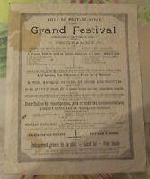 Affiche Publicitaire Propagande Pont-de-Veyle Grand Festival 18 septembre 1904