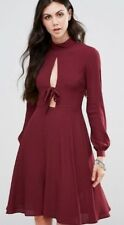 NWT Burgundy/Berry GLAMOROUS TALL (ASOS) Tie at Chest Long Sleeve Dress Size 8