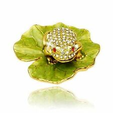 Accessories Jeweled Red Eyed Bog Frog Green Lily Pad Jewelry Trinket Ring Box