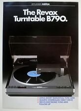Revox B790 Turntable Original Factory Sales Brochure NOS New!