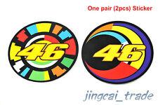 2pcs VR 46 VALENTINO ROSSI Sun and Moon MOTO GP Badge Emblem Sticker Decal
