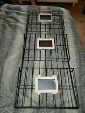 New Country Themed Mail Organizer With 3 Wire Baskets Bronze Color Chalkboard