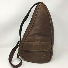 Vintage LL BEAN Ameribag Brown Leather Healthy Back Sling Shoulder Bag Adj Strap