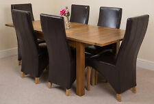 Cotswold Rustic Oak 132cm Extending Dining Table & 6 Ivory Lola Leather Chairs Brown
