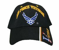 U.S. Air Force Veteran Hat / USAF Insignia Baseball Cap BLACK