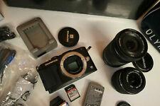Olympus PEN Lite E-PL5 HD Digital Camera Twin Lens Kit + Tripod Bag & MEM Card