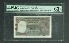 British India | Burma Currency Board | 5 Rs | 1947 | Pick#31 | Pmg-63 Net