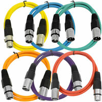 SEISMIC AUDIO (6 PACK) New 3' XLR Patch Cables Colored