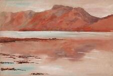 MOUNTAINS FROM LOCH LINNHE SCOTLAND Antique Watercolour Painting 1936