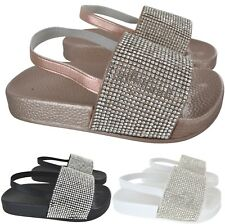 KIDS GIRLS INFANTS SUMMER FLAT SLIP ON DIAMANTE BEACH POOL SLIDERS SANDALS SIZE