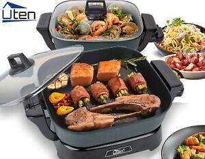 2 IN 1 Elektro Grillpfanne Hot Pot Multifunktions Grill Braten Portable Cooker