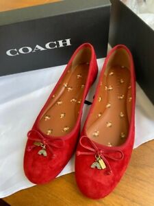 Brand New in Box Coach Lola Ballet Suede Deep Scarlet ladies shoes size 6.5 UK