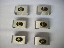 Set of 6 brushed Stainless Steel napkin ring holder monogram brass E silverware