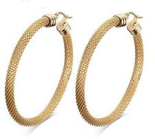 One Pair Stainless Steel Women Fashion Big Round Mesh Hoop Earrings Gold Tone