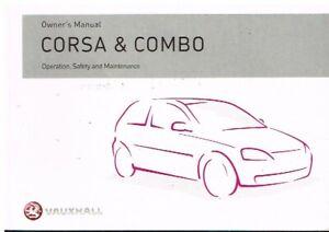 VAUXHALL CORSA C & COMBO ORIGINAL 2005 OWNERS INSTRUCTION HANDBOOK