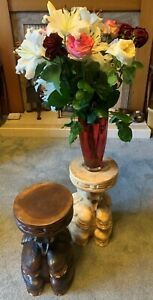 Planter / Side Table - Wooden Good Luck Elephant Design