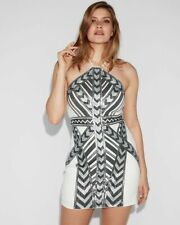 New Express Sequin Ivory Deco Aztec Halter Sheath Dress M