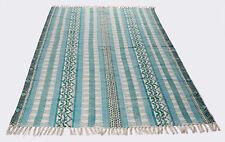 Indian Dari Rug Carpet Cotton Floor Rug Handmade Area Rug Runner Green Woven Rug