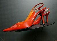 Women's Via Spiga Italy Heeled Slingback Pump Pierced Red Leather Sz. 8.5M NWOB