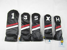 Sunfish Black, Red, White Leather golf headcover 5 piece set DR FW FW HB HB !