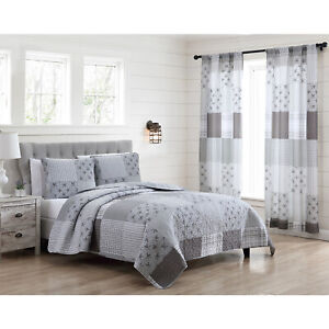 Full/Queen or King Farmhouse Patchwork Quilt Bed Set or Window Curtains, Grey