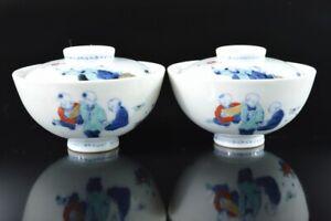 L7433: Japan Old Imari-ware Colored porcelain Person TEA BOWL/dish of soup 2pcs