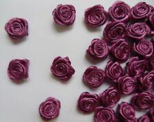 """3/8"""" (W) Purple Wine Satin Polyester Mini Ribbon Rose Flower DIY-100 Pcs-R0030V"""