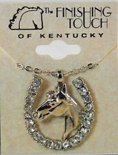 New Sliver Tone Horse Head with Crystal Stone Horse Shoe Necklace