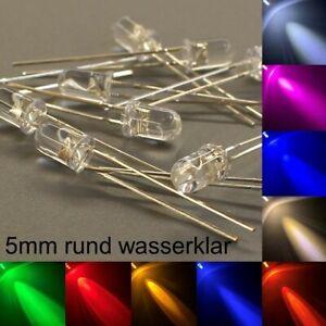 5mm LEDs rund wasserklar alle Farben inkl. Widerstände Leuchtdioden LED 5 mm