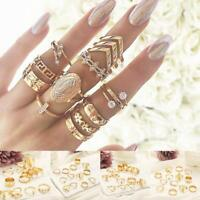 13Pcs/Set Women Boho Punk Gold Midi Finger Ring Crystal Knuckle Rings Jewelry
