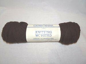 COLUMBIA MINERVA KNITTING WORSTED Virgin WOOL YARN Seal Brown Vintage Craft