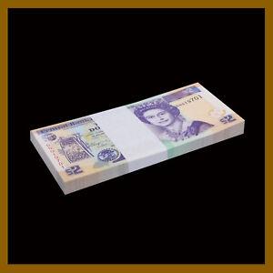 Belize 2 Dollars x 25 Pcs Bundle, 2011 P-66d Queen Elizabeth II Unc