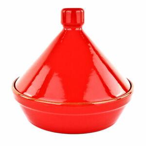 PENTOLA TAJINE rossa in TERRACOTTA - Tegame da fuoco ARTIGIANALE - cm 24 - Colì