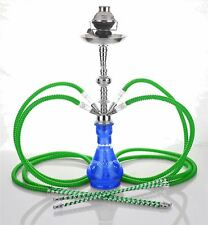 """4 hose 23"""" Arabic Blue Hookah Shisha Nargila water glass vase pipes smoke sale"""