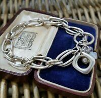 Vintage 925 Silver Bracelet, Double Link Statement, Heavy, Toggle, 7.5 INCH