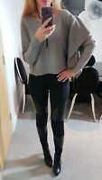ZARA BNWOT NEW JUMPER SWEATER KNIT GREY CROPPED FRILL RUFFLE SIZE M MEDIUM 10 12