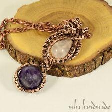 Amethyst & Rose Quartz Natural Gemstone Vintage Pendant Copper Wire Wrapped